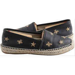 Gucci Star Bee Espadrilles Slides Black Leather Flats Rare Limited 20GG85