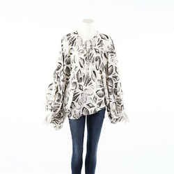 Alexander McQueen Seashell Print White Silk Balloon Sleeve Blouse SZ 42