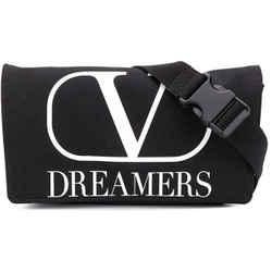 NEW Valentino Black Printed V Dreamers Logo Nylon Fanny Pack Waist Belt Bag