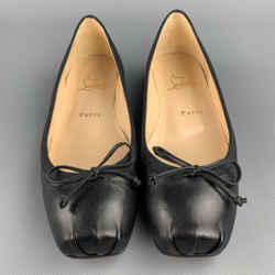 CHRISTIAN LOUBOUTIN Size 7.5 Black Leather Bow Ballet Bolshoi Flats