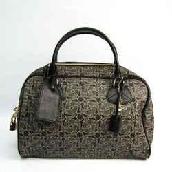 Celine Saluki Carriage Pattern Women's Leather,Coated Canvas Handbag Bl BF519608