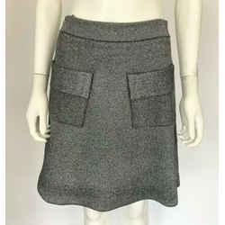 A.l.c. Gray Metallic Silver A-line Flare Stretch Mini Skirt Pockets Elastic Sz S