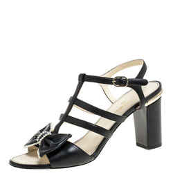 Chanel Black Leather Pearl Embellished Bow Caged Open Toe CC Ankle Strap