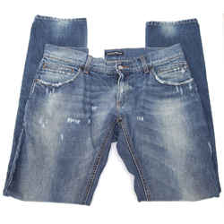 Dolce & Gabbana Men's Blue Jean Denim Medium Dark Wash Distressed 52 - 54