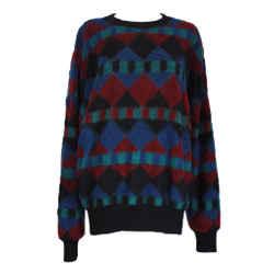 MISSONI Men's Circa 1990s Blue & Red Geometric Sweater