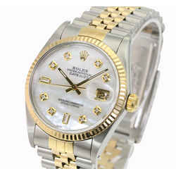 Rolex Mens Datejust  36mm White MOP Diamond Dial 18K Gold Bezel 1990's