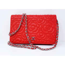 Chanel Red Goatskin Camellia Wallet on Chain Bag