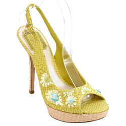 CHRISTIAN DIOR Yellow Platform Sandal Snakeskin Leather Straw Floral Ankle 38