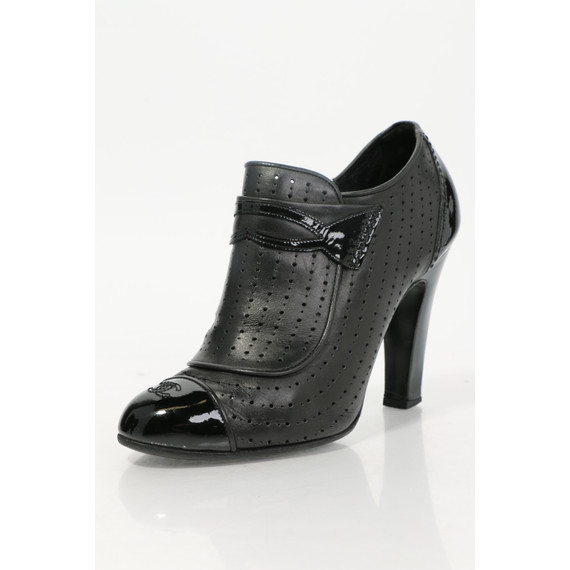 Chanel Perforated Leather Cap Toe Ankle Boots