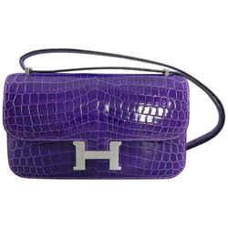 Hermes Ultraviolet Niloticus Crocodile Constance Elan Bag Phw