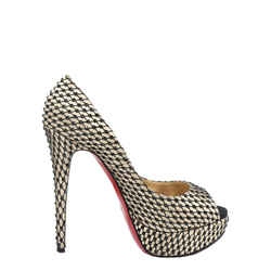 Christian Louboutin Satin Lady Peep Crepe Pumps  Size 37.5