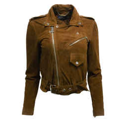 Polo Ralph Lauren Brown Goat Suede Leather Moto Jacket