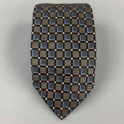 ERMENEGILDO ZEGNA Black & Navy Geometric Silk Tie