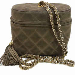 Chanel Quilted Brown Suede Chain Logo Case 870691
