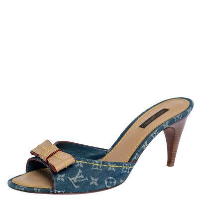 Louis Vuitton Blue Monogram Denim And Leather Bow Slide Sandals Size 39.5