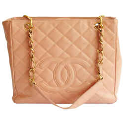 Chanel Petite Shopper Gold Chain Strap Caviar 2003 Pink Leather Tote
