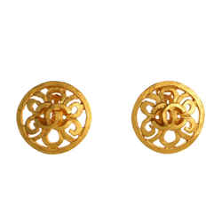 Vintage CC Flower Cutout Round Clip-On Earrings Metal