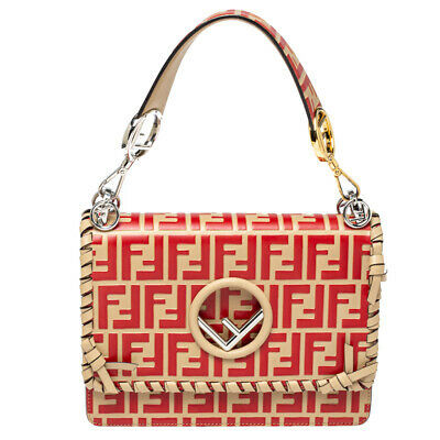 Fendi Beige/Red Zucca Leather Small Whipstitched Kan I F Top Handle Bag
