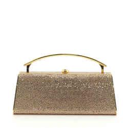 Judith Leiber Gold Embellished Crystal Rhinestone Minaudiere Handbag