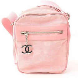 Auth Chanel Chanel New Travel Line Coco Mark Charm Mini Shoulder Bag Pink Canvas