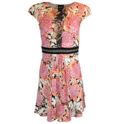 Just Cavalli Coral Printed Short Sleeved Viscose Dress