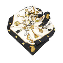 Vintage Authentic Hermes Black  with White Silk Fabric Printed Scarf France