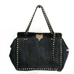 Valentino Garavani Rock Studs Women's Leather,Denim Handbag,Shoulder Ba BF518106