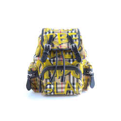 Burberry Graffiti Multicolored Vintage Check Rucksack Yellow Calfskin Leather Backpack
