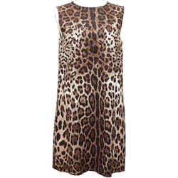 Dolce & Gabbana Dress Brown Leopard Sleeveless Cotton Sz 46