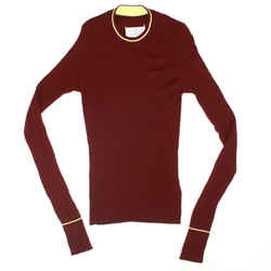 Maison Martin Margiela - Sweater - Ribbed - Red Maroon Yellow Stripe - Medium M