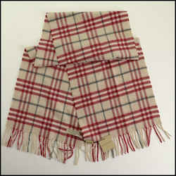 Rdc11264 Authentic Burberry Beige/red Check Cashmere Scarf