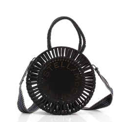 Logo Circle Bag Faux Leather and Cotton Small