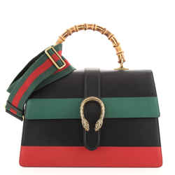 Dionysus Bamboo Top Handle Bag Colorblock Leather Large