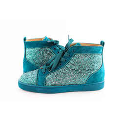 Christian Louboutin Teal Swarovski Crystal Strass And Suede Sneakers