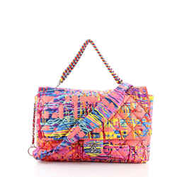 Chain Flap Bag Quilted Printed Foulard Large