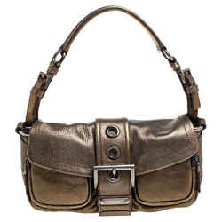 Prada Gold Leather Buckle Flap Shoulder Bag