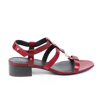 Celine Sandals Triomphe Red Leather Strappy Block Heel SZ 37.5