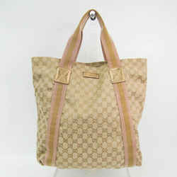 Gucci GG Canvas 189669 Women's GG Canvas,Leather Tote Bag Beige,Gold,Li BF527682