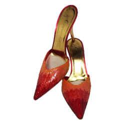 GIUSEPPE ZANOTTI Fire Bird Red Orange Sequin Mules with Gold Heels Size 39 1/2