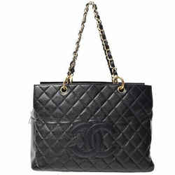 Auth Chanel Caviar Reprint Chain Tote Bag Gold Hardware Black Leather