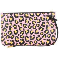 Louis Vuitton Pink Cheetah Wild at Heart Neverfull Pochette MM or GM Wristlet 188lv8