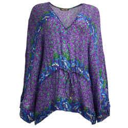 Roberto Cavalli Purple & Blue Floral Print Blouse