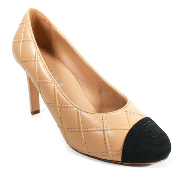 Chanel - Tan Quilted Leather Heels Pumps - Black Satin Cc Cap Toe - Us 7.5 - 38