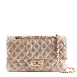 Chanel Gold Perforated Leather Quilted Medium Double Flap Bag