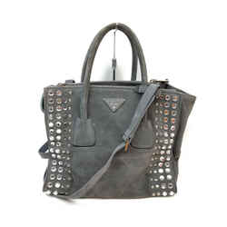 Prada Charcoal Suede Studded Crystal Lux Tote 2way Bag 863225