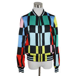 Black Multi Color Checkerboard Print Jacket