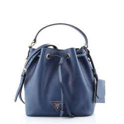 Top Handle Bucket Bag Saffiano Leather Small