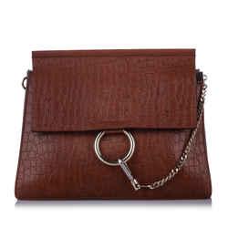 Vintage Authentic Chloe Brown Calf Leather Faye Embossed Shoulder Bag Italy