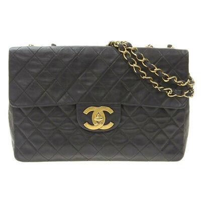 Auth Chanel Deca Matrasse Lambskin W / Chain Shoulder Bag Black G Metal Fittings