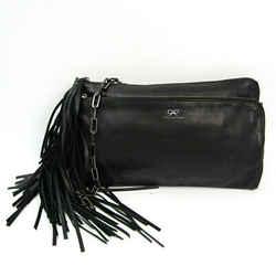 Anya Hindmarch Fringe Women's Leather Clutch Bag,Shoulder Bag Black BF522214